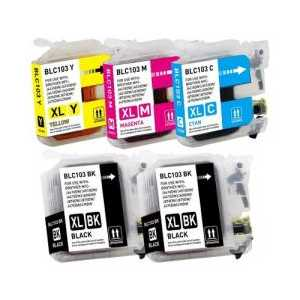Compatible Brother LC103 XL ink cartridges, High Yield, 5 pack