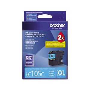 Original Brother LC105C XXL Cyan ink cartridge, Super High Yield