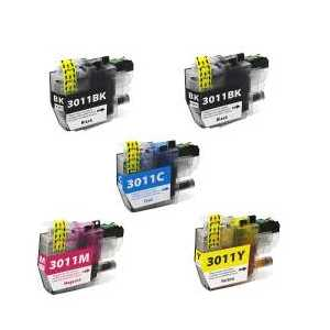 Compatible Brother LC3011 XL ink cartridges, 5 pack