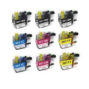 Compatible Brother LC3011 XL ink cartridges, 9 pack
