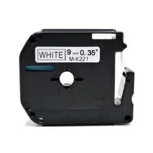 Compatible Brother M-K221 label tape for P-Touch - 9mm Black on White