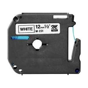 Compatible Brother M-K231 label tape for P-Touch - 12mm Black on White