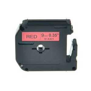 Compatible Brother M-K421 label tape for P-Touch - 9mm Black on Red