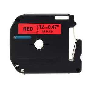 Compatible Brother M-K431 label tape for P-Touch - 12mm Black on Red