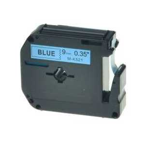 Compatible Brother M-K521 label tape for P-Touch - 9mm Black on Blue