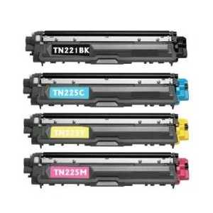Compatible Brother TN221, TN225 toner cartridges, 4 pack