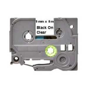Compatible Brother TZe121 label tape for P-Touch - 9mm Black on Clear
