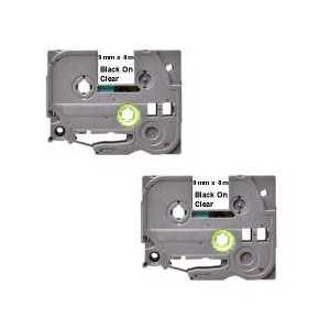 Compatible Brother TZe121 label tape for P-Touch - 9mm Black on Clear, 2 pack