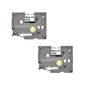 Compatible Brother TZe131 label tape for P-Touch - 12mm Black on Clear, 2 pack