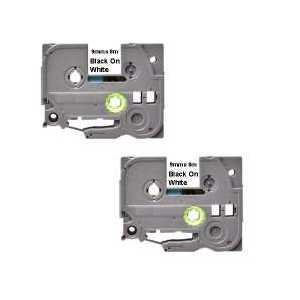 Compatible Brother TZe221 label tape for P-Touch - 9mm Black on White, 2 pack