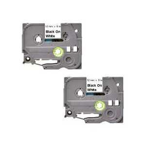 Compatible Brother TZe231 label tape for P-Touch - 12mm Black on White, 2 pack
