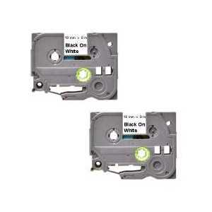 Compatible Brother TZe241 label tape for P-Touch - 18mm Black on White, 2 pack