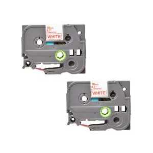 Compatible Brother TZe242 label tape for P-Touch - 18mm Red on White, 2 pack