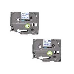 Compatible Brother TZe243 label tape for P-Touch - 18mm Blue on White, 2 pack
