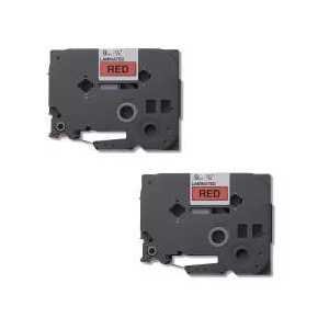 Compatible Brother TZe421 label tape for P-Touch - 9mm Black on Red, 2 pack