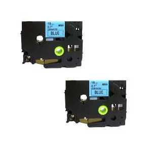 Compatible Brother TZe541 label tape for P-Touch - 18mm Black on Blue, 2 pack