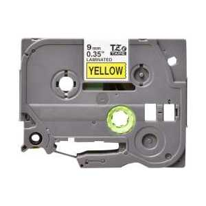 Compatible Brother TZe621 label tape for P-Touch - 9mm Black on Yellow