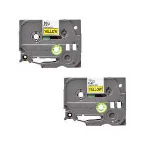 Compatible Brother TZe631 label tape for P-Touch - 12mm Black on Yellow, 2 pack