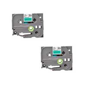 Compatible Brother TZe741 label tape for P-Touch - 18mm Black on Green, 2 pack