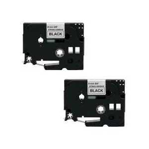 Compatible Brother TZeS221 label tape for P-Touch - 9mm Black on White, 2 pack