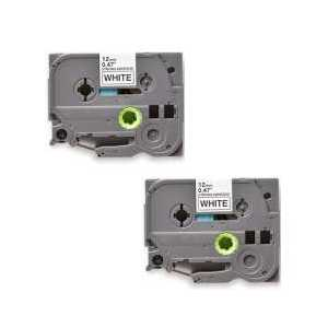 Compatible Brother TZeS231 label tape for P-Touch - 12mm Black on White, 2 pack