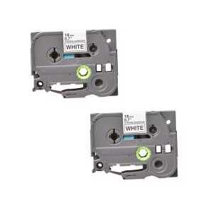 Compatible Brother TZeS241 label tape for P-Touch - 18mm Black on White, 2 pack