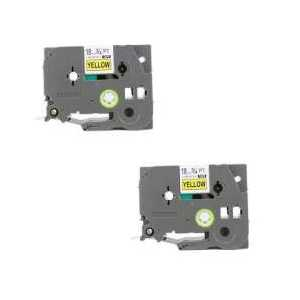 Compatible Brother TZeS641 label tape for P-Touch - 18mm Black on Yellow, 2 pack