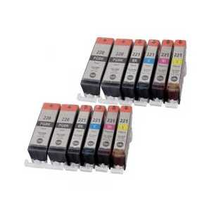 Compatible Canon CLI-221, PGI-220 ink cartridges, 12 pack