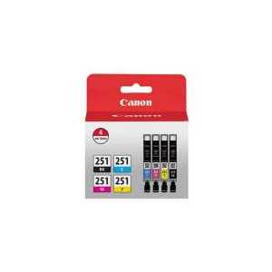 Original Canon CLI-251 ink cartridges, 6513B004, 4 pack
