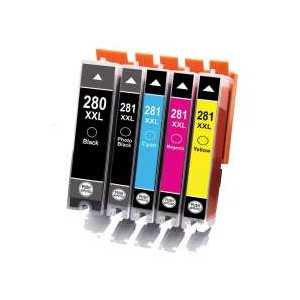 Compatible Canon CLI-281 XXL, PGI-280 XXL ink cartridges, 5 pack