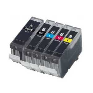 Compatible Canon CLI-8, PGI-5 ink cartridges, 5 pack
