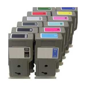 Compatible Canon PFI-206 ink cartridges, 12 pack