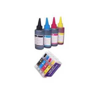 Compatible refillable ink cartridges for Epson 200XL, auto reset, 400ml ink, 4 pack