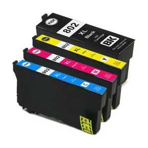 Remanufactured Epson 802XL ink cartridges, 4 pack