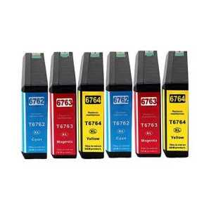 Remanufactured Epson 676XL ink cartridges, 6 pack