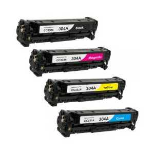 Remanufactured HP 304A toner cartridges, 4 pack