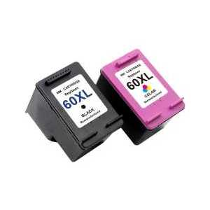 Remanufactured HP 60XL ink cartridges, 2 pack