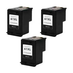 Remanufactured HP 61XL Black ink cartridges, 3 pack