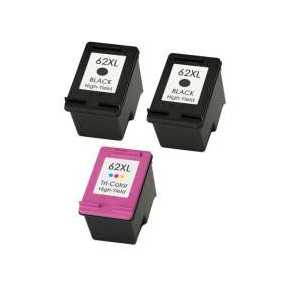 Remanufactured HP 62XL ink cartridges, 3 pack
