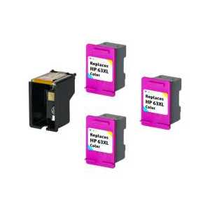 Compatible HP 63XL Color plug-in ink cartridge, High Yield, 3 pack