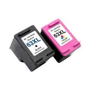 Remanufactured HP 63XL ink cartridges, 2 pack