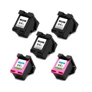Remanufactured HP 64XL ink cartridges, 5 pack