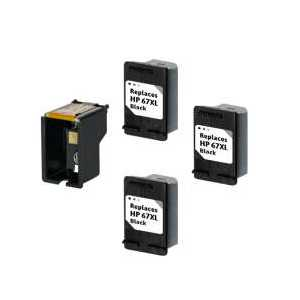 Compatible HP 67XL Black plug-in ink cartridge, High Yield, 3 pack