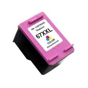 Remanufactured HP 67XXL Tri-color ink cartridge, Extra High Yield, 3YP32BN