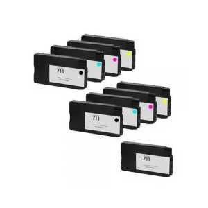 Remanufactured HP 711 ink cartridges, 9 pack