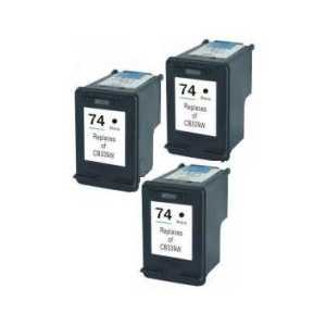 Remanufactured HP 74 ink cartridges, 3 pack