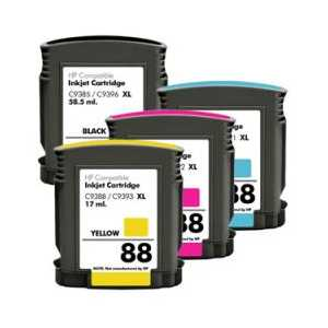 Remanufactured HP 88XL ink cartridges, 4 pack