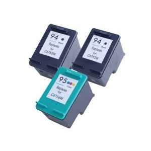 Remanufactured HP 94, 95 ink cartridges, 3 pack