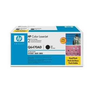 Original HP 501A Black toner cartridges, Q6470AD, 2 pack