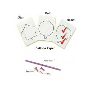 InkFlatables Heart Printable Balloon A4 size - 3-pack